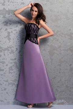 Charming Lace A-Line Strapless Floor-Length Renata's Bridesmaid Dress