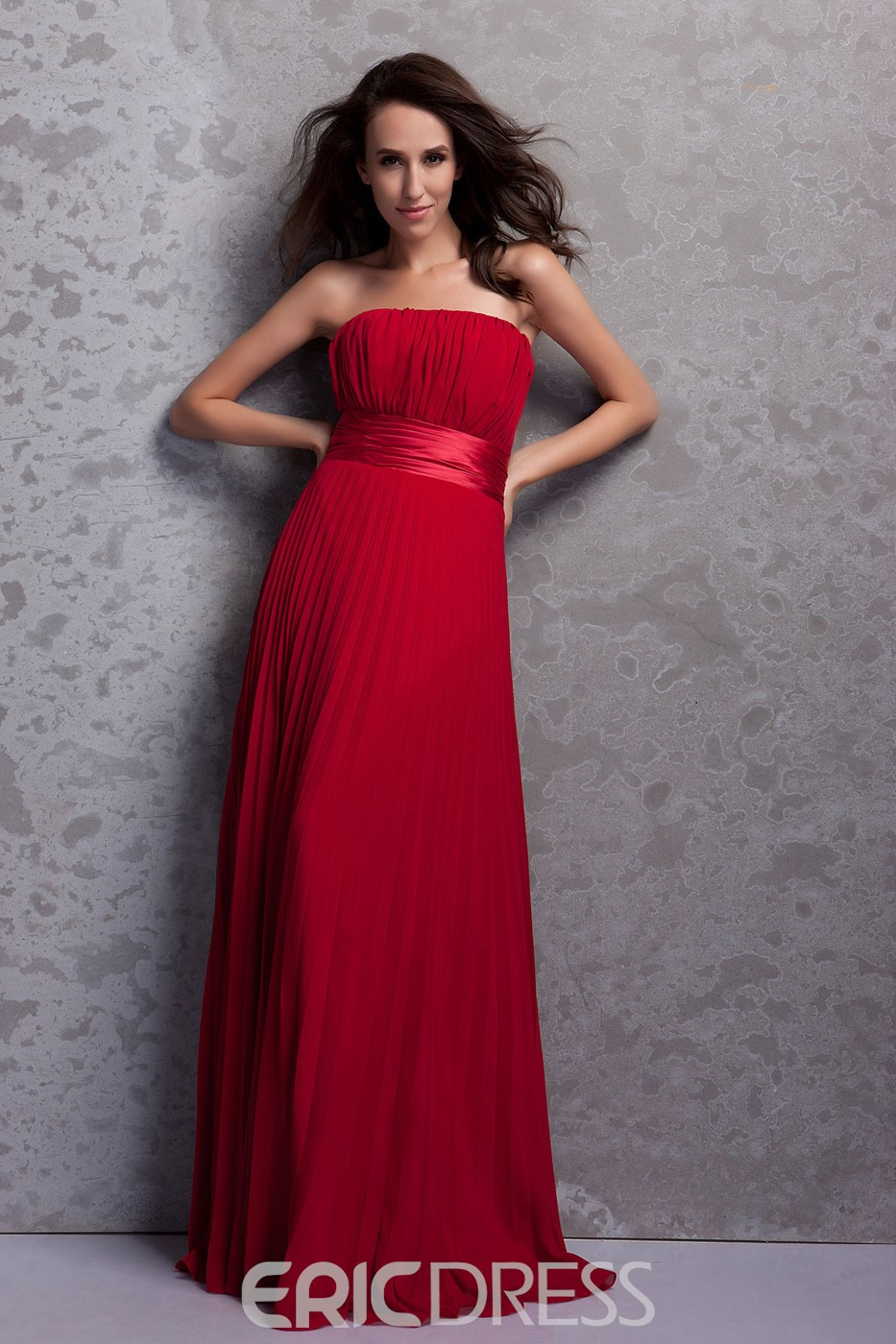 Ruched A-Line Strapless Floor-Length Renata's Bridesmaid Dress