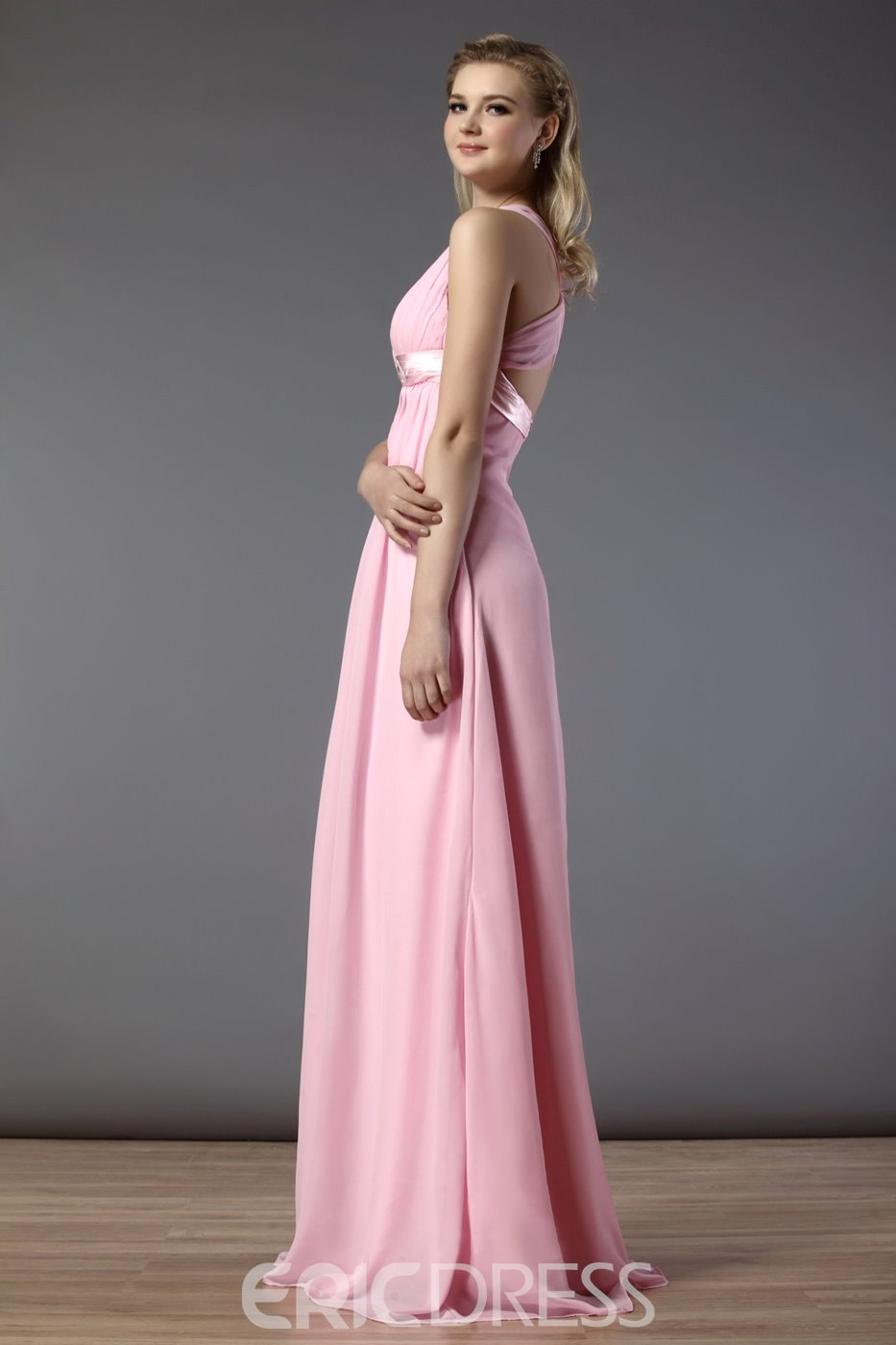 Sexy Ruched Sheath/Column Spaghetti Straps Floor-Length Bridesmaid Dress