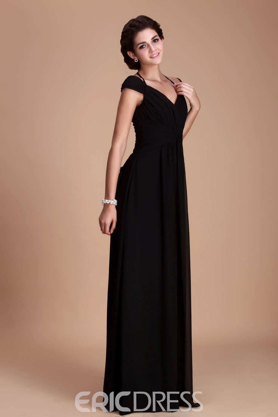 Fantastic A-Line Off-the-Shoulder Floor-Length Roxy's Bridesmaid Dress