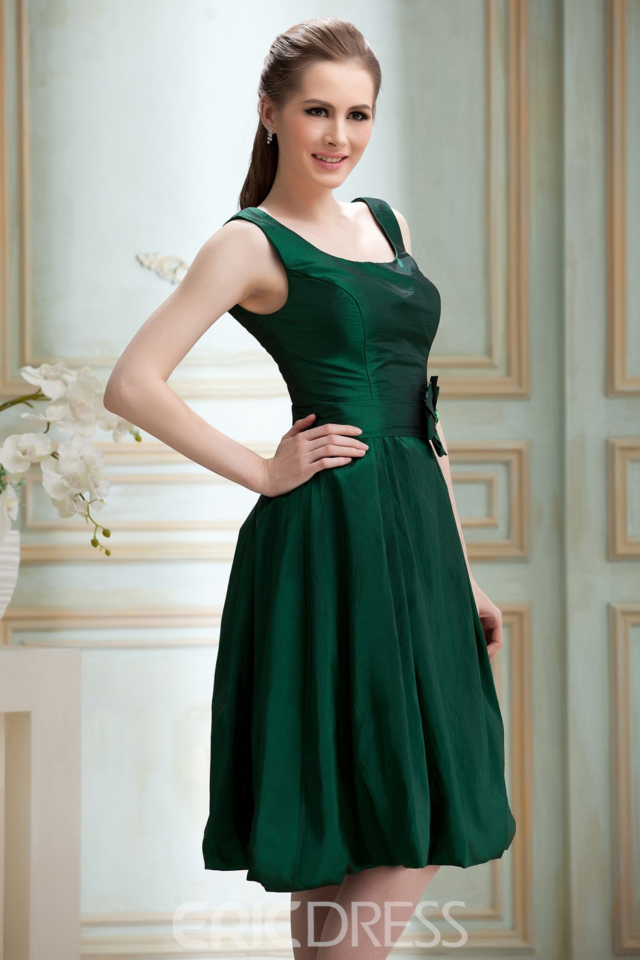 Elegant Scoop Short A-line Flower Knee-length Nadya's Bridesmaid Dress
