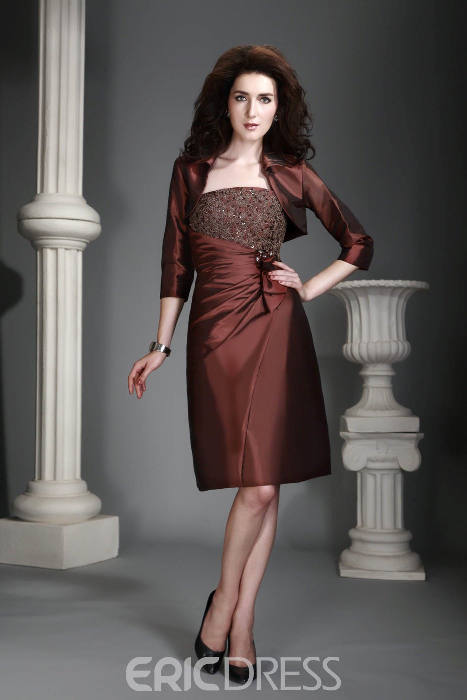 Marvelous Lace Bowknot Draped Strapless Alex's Mother of the Bride Dress With Jacket/Shawl