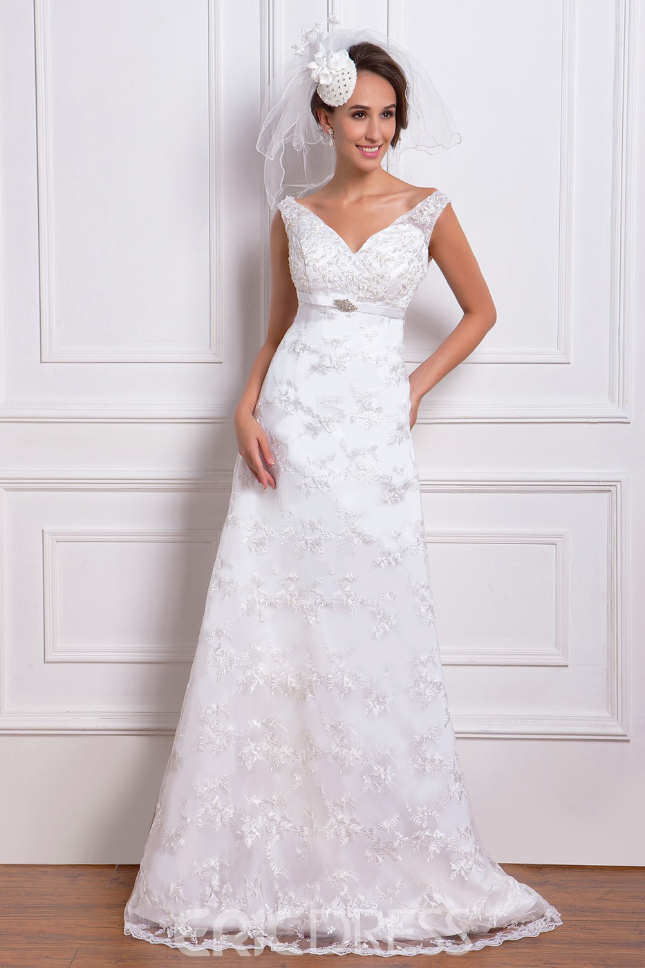 Amazing Empire V-Neck Chapel Train Lace Miriama's Wedding Dress for Brides
