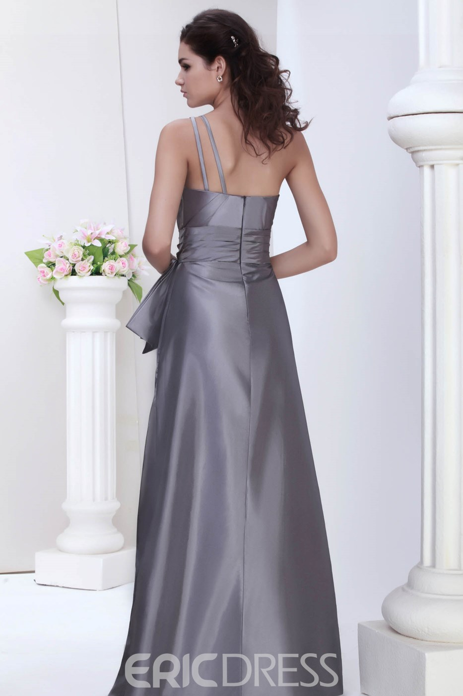 Style Bowknot A-Line One-Shoulder Floor-Length Roxy's Bridesmaid Dress