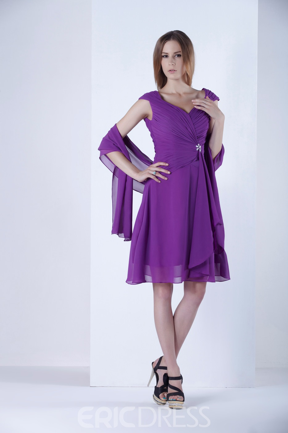 Gorgeous Pleats Beaded Sheath/Column Sweetheart Neckline Knee-Length Alicja's Mother of the Bride Dress With Jacket/Shawl