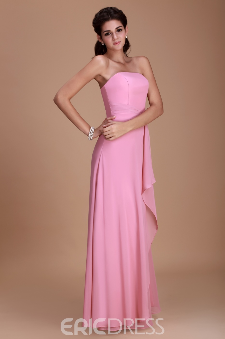 Pretty A-line Sttrapless Floor-length Flower Roxy's Bridesmaid Dress