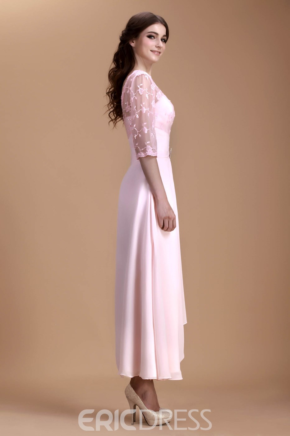 Charming Lace Pleats Beaded A-Line V-Neck Half-Sleeves Ankle-Length Natilie's Mother of the Bride Dress