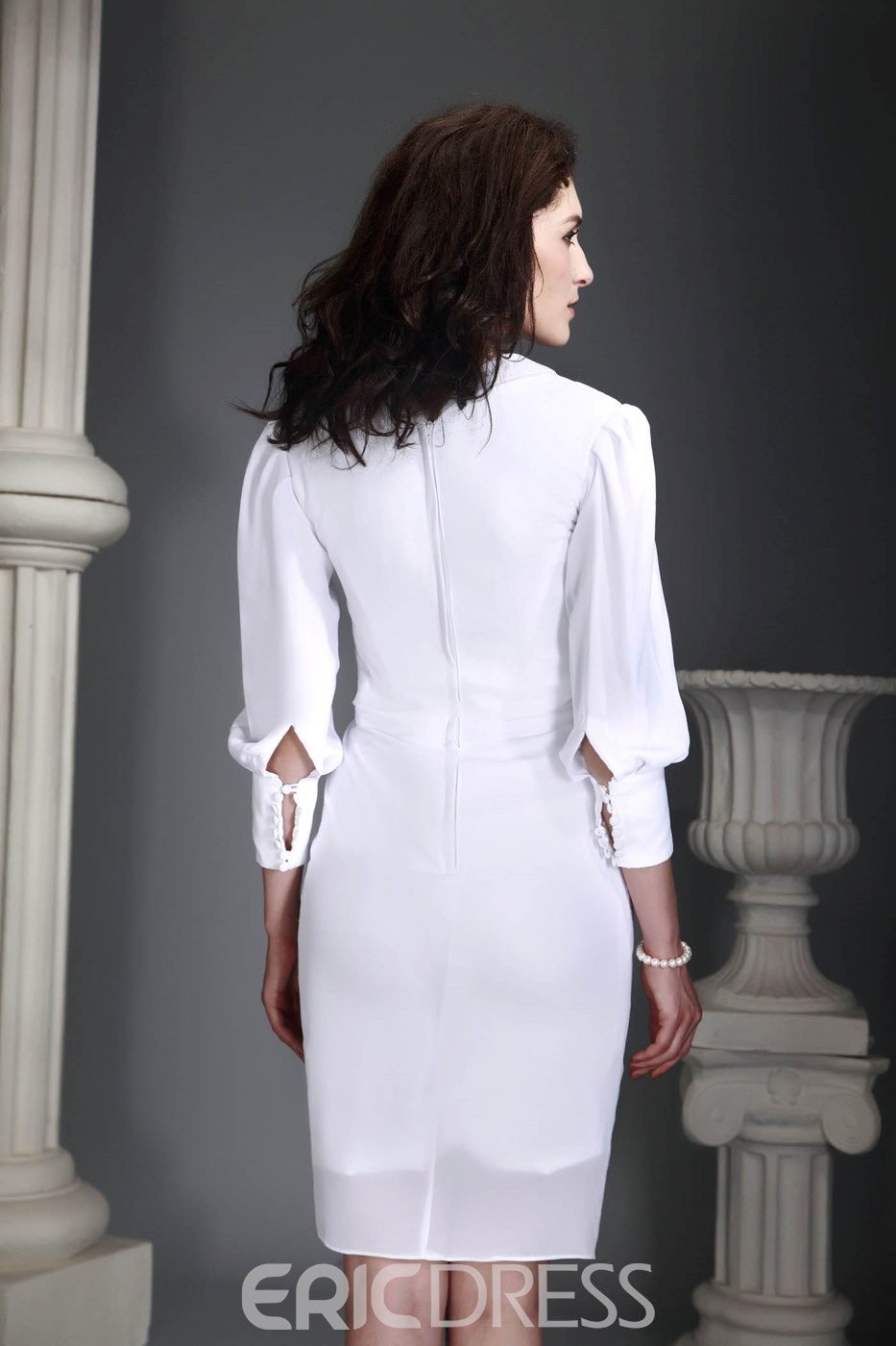 Brilliant Sheath V-neck Long-Sleeve Short/Mini-Length Alex's Mother of the Bride Dress