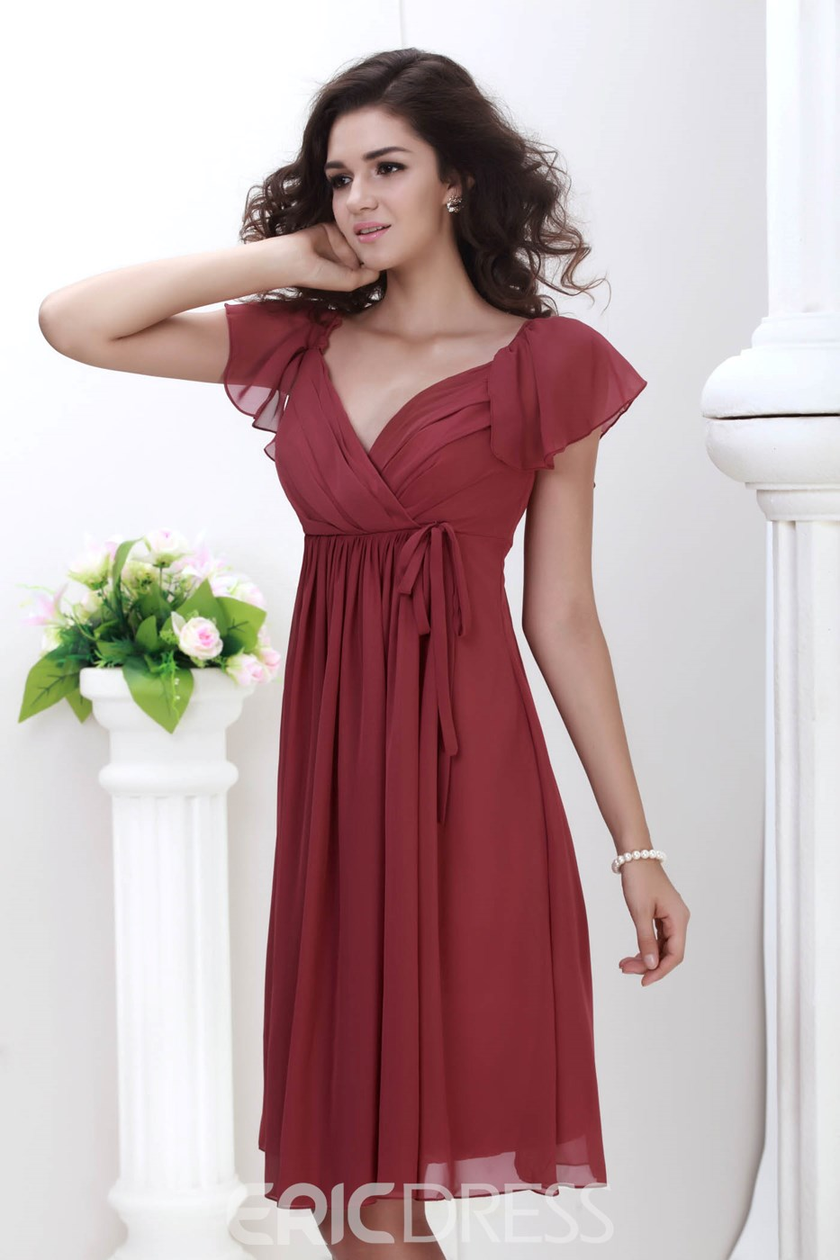 Ericdress Perfect V-Neck Knee-Length Bridesmaid Dress