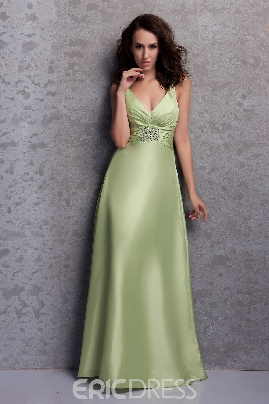 Pretty A-Line/Princess V-neck Floor-Length Bridesmaid Dress