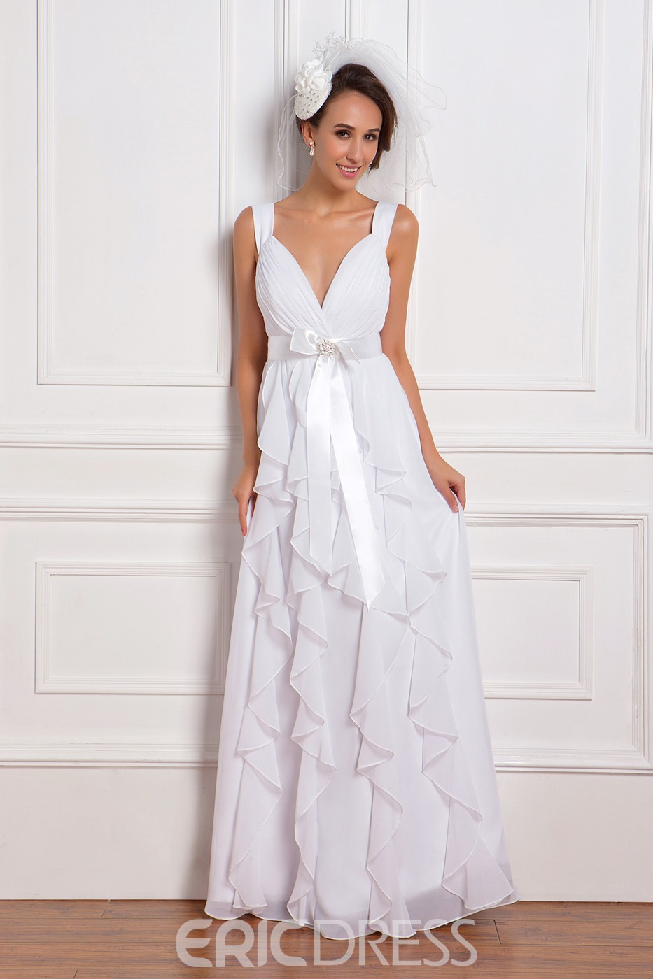 Romantic Empire Straps Ankle-Length Ruffles Wedding Dress