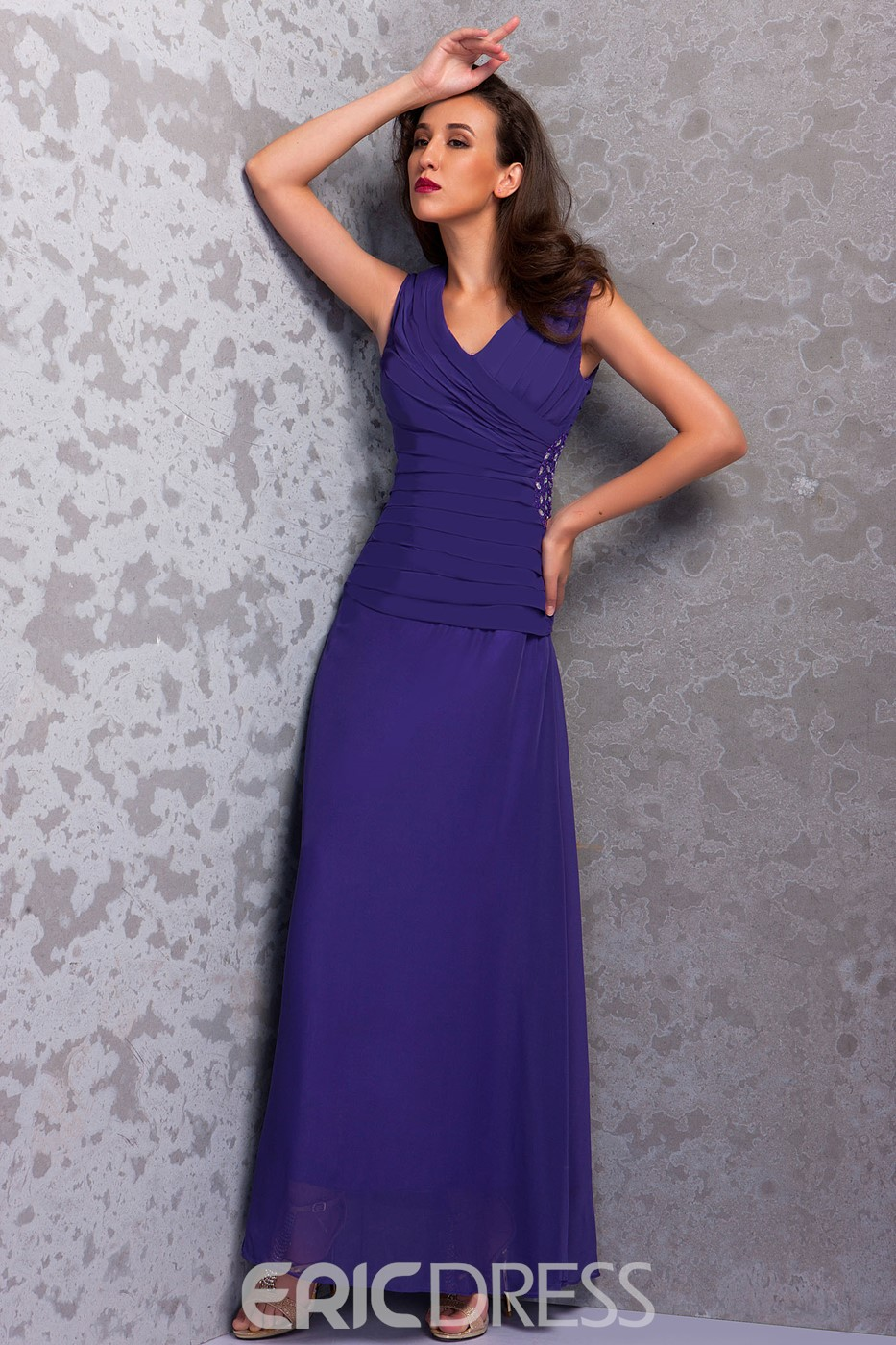 Sheath V-Neck Ankle-length Mother of the Bride Dress