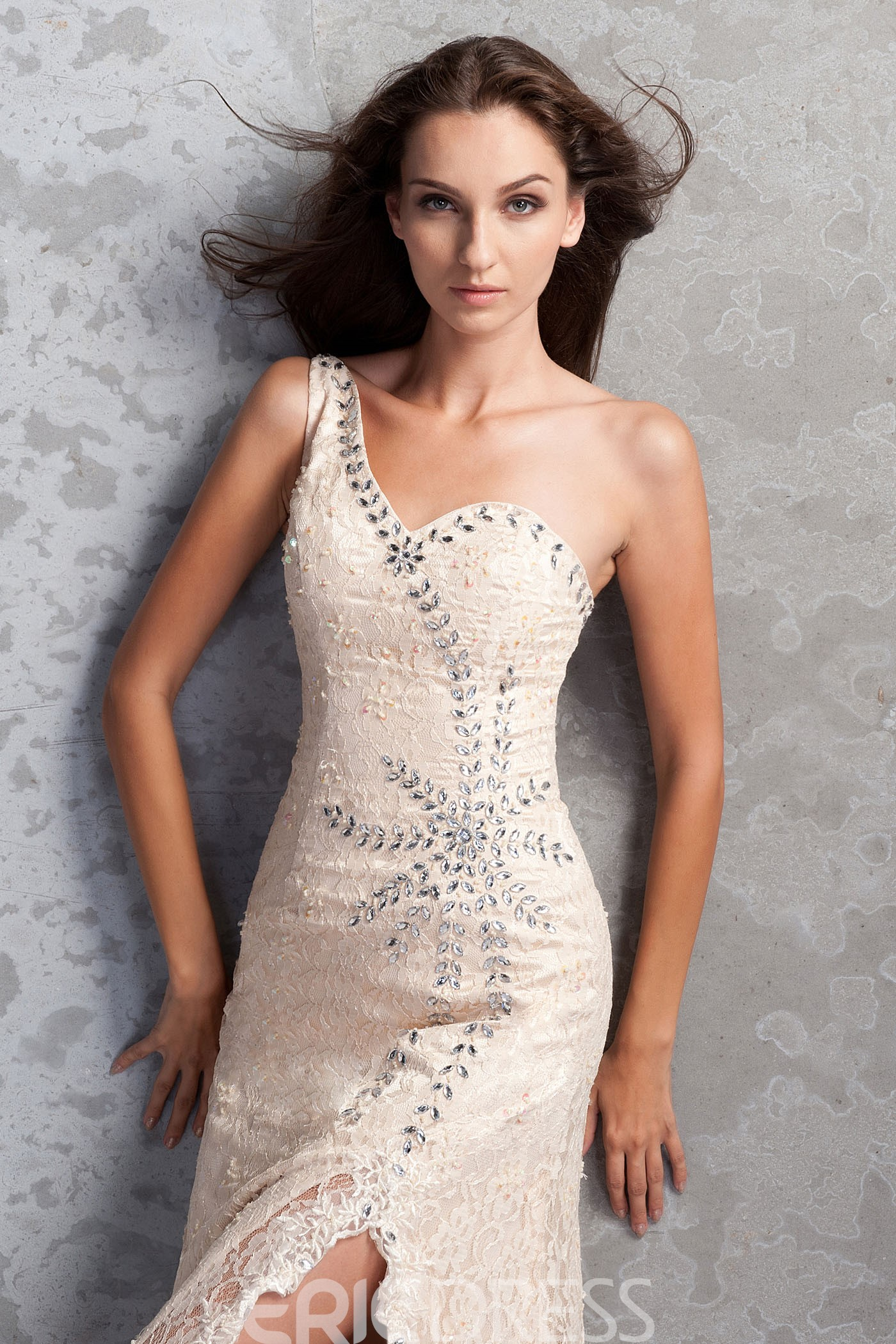 Charming Beading Split-Front Lace Mermaid/Trumpet One-Shoulder Sweep/Brush-Train Miriama's Mother of the Bride Dress