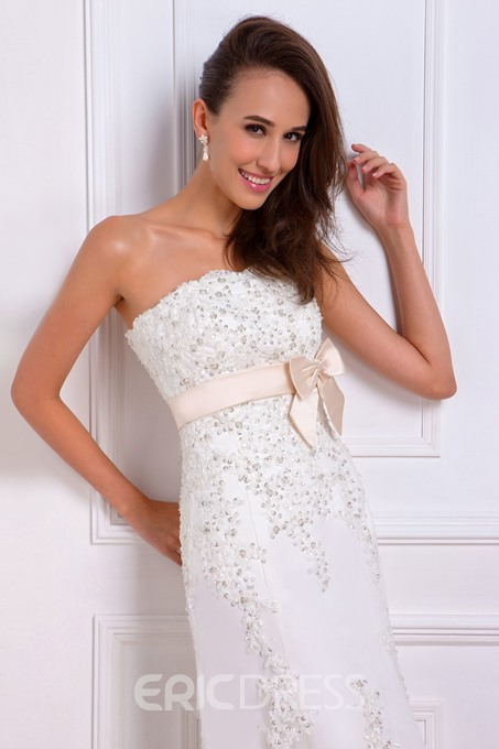 Amazing A-line Strapless Court Bowknot Renata's Wedding Dress Spring Trends