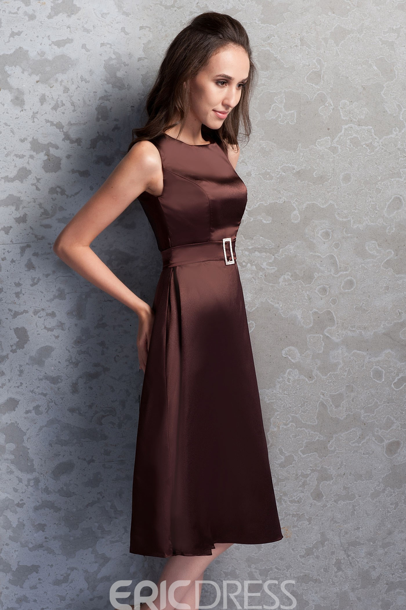 Classic A-line Square Neckline Knee-length Renata's Mother of the Bride Dress