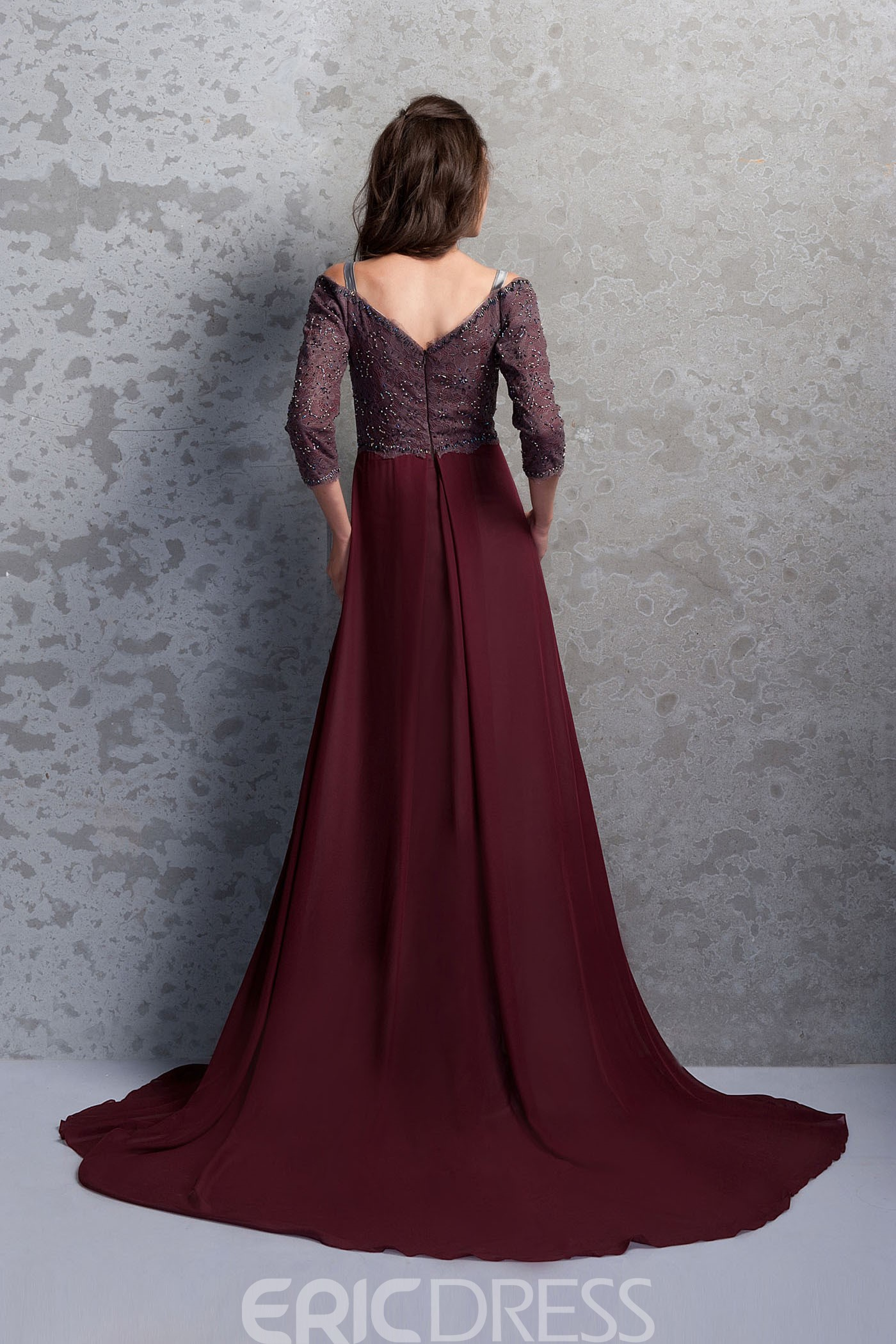 Marvelous Lace/Sequins A-Line Off-the-Shoulder 3/4 Sleeves Floor-Length Renata's Mother of the Bride Dress