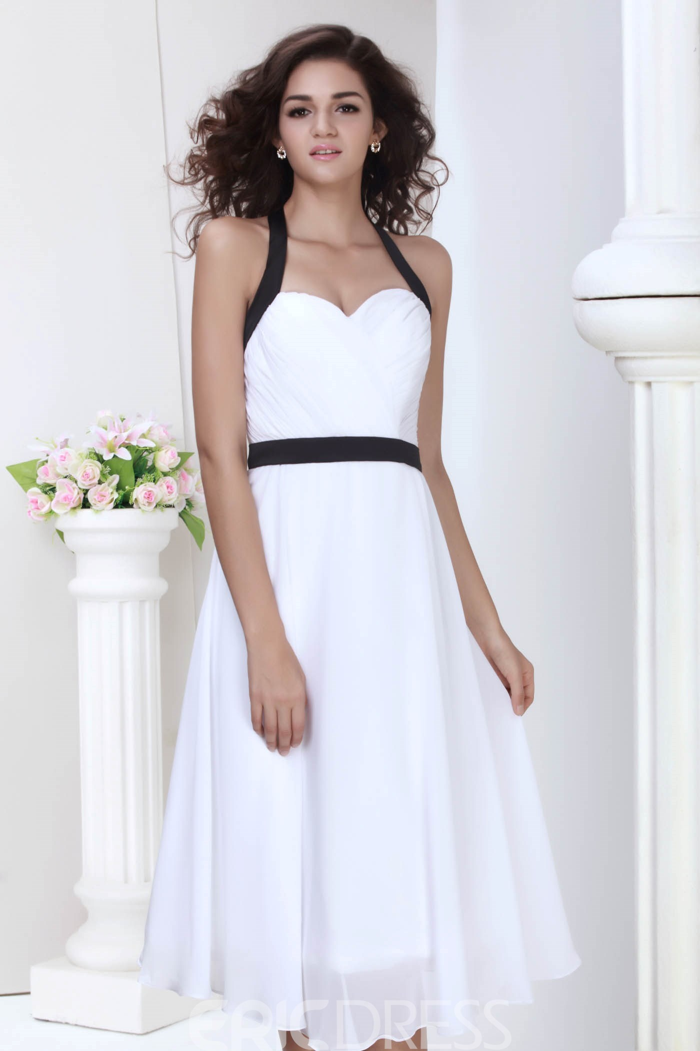 Wonderful A-line V-neck Tea-Length Roxy's Bridesmaid Dress