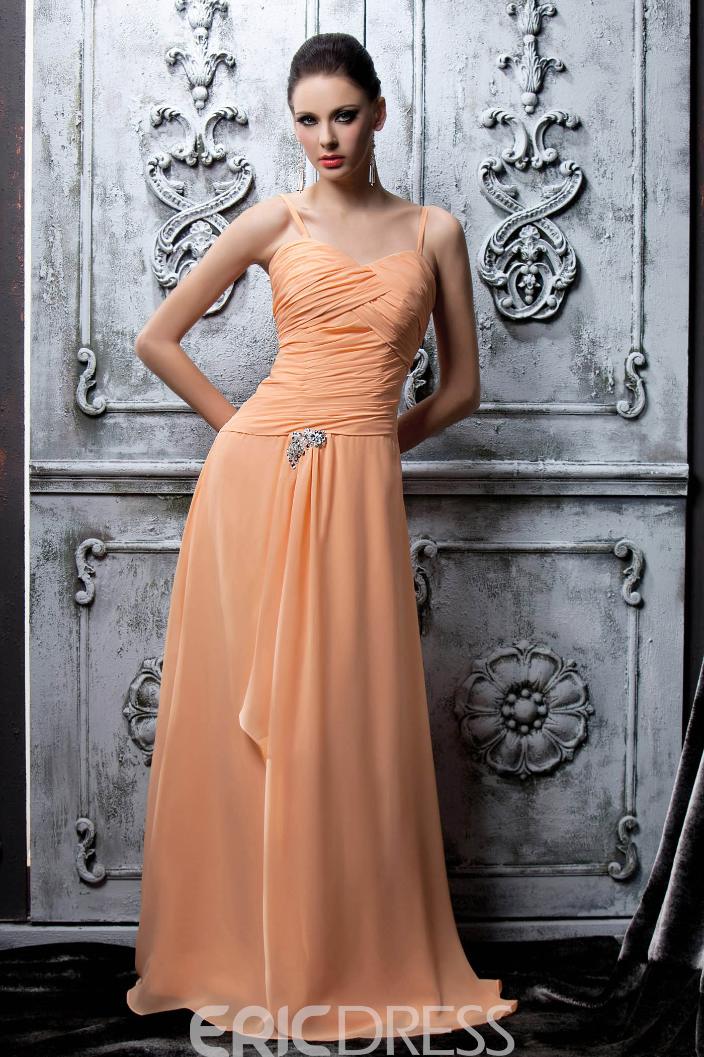 Marvelous Pleats Crystal Floral Pin Column Spaghetti Straps Floor-Length Polina's Mother of the Bride Dress With Jacket/Shawl