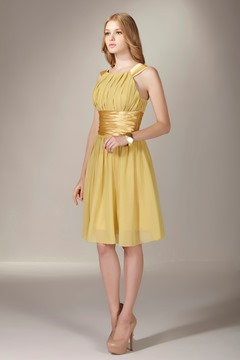 Delicate A-Line/Princess Beteau Neckline Knee-length Sasha's Bridesmaid Dress