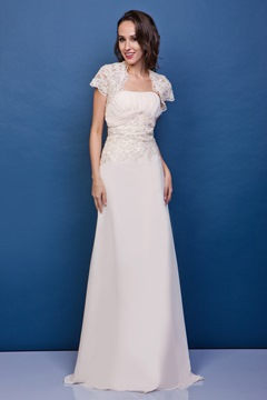 Marvelous Appliques A-Line Sheath Floor-Length Strapless Renata's Mother of the Bride Dress With Jacket/Shawl
