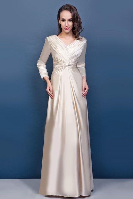 Ericdress V-Neck Pleats Column Sleeves Mother of the Bride Dress