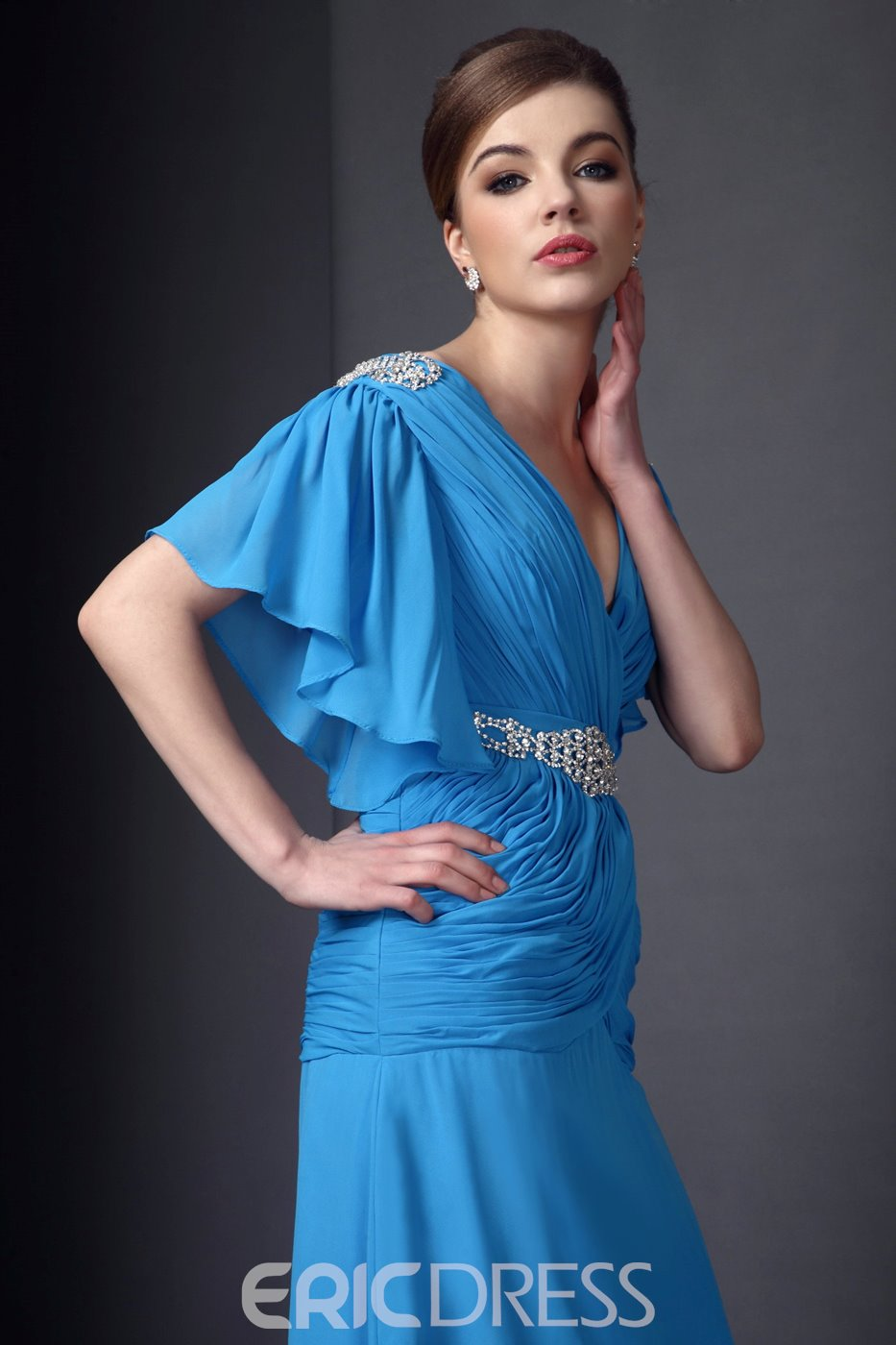 Delicated Beaded A-line V-Neck Floor-Length Mother of the Bride Dress