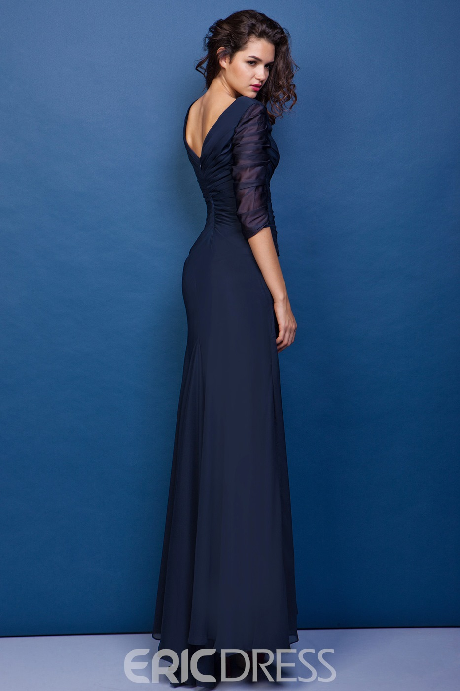 Mermaid V-neck 3/4-length Sleeves Floor-Length Juliana's Mother Of The Bride Dress