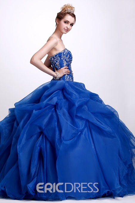 A-Line Floor-Length Strapless Angerlik's Quinceanera Ball Gown Dress
