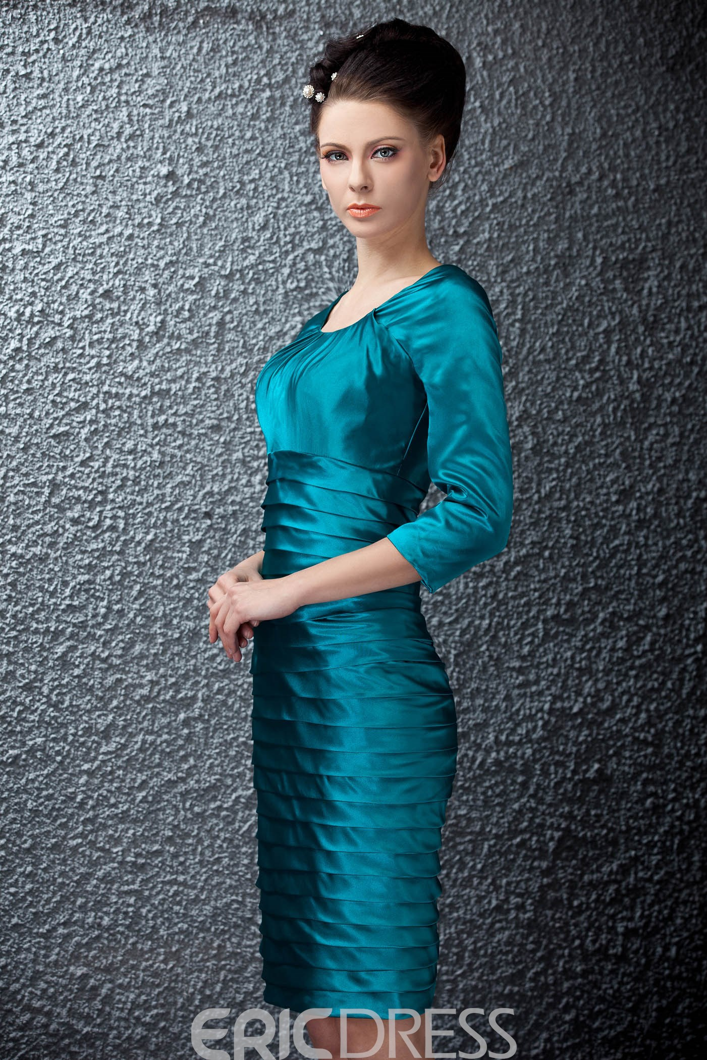 Tiered Sheath 3/4-length Sleeve Knee-length Scoop Neckline Polina's Mother of the Bride Dress