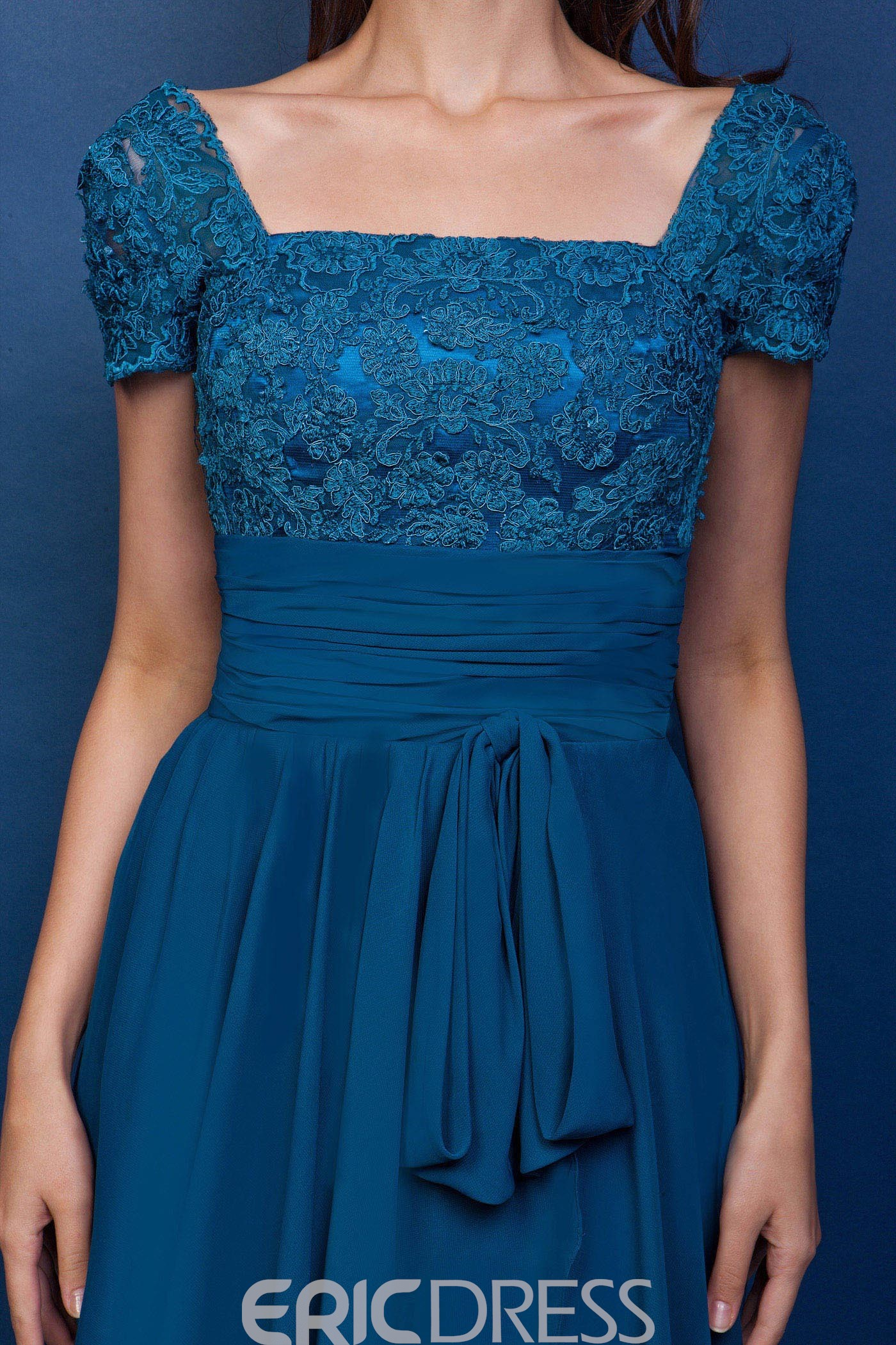 Attractive Lace A-Line Square Short-Sleeves Knee-Length Mother of the Bride Dress