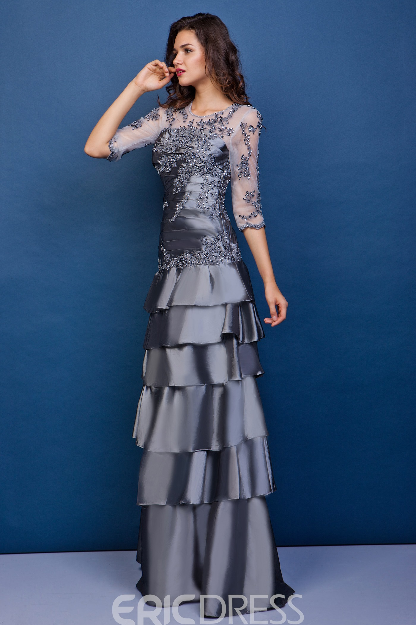 Graceful Lace Tiered Sheath Round Neckline Half Sleeves Floor-Length Juliana's Mother of the Bride Dress