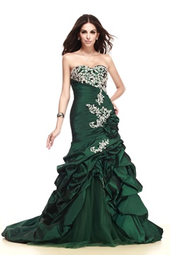 Sweetheart Sequins Ruffles Taline's Evening Dress With Zipper-Up Back
