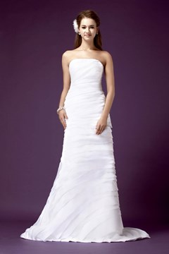 Fabulous A-line Strapless Floor-length Chapel Tiered Sandra's Wedding Dress