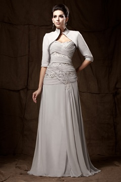 Graceful Lace Pleats A-Line Sweetheart Neckline Sweep/Brush-Train Taline's Mother of the Bride Dress With Jacket/Shawl