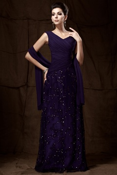 Sheath V-Neck Long Mother of the Bride Dress with Jacket