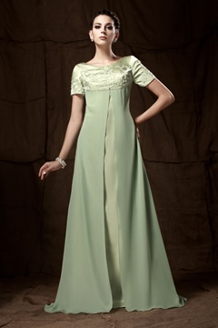 A-line Short-Sleeves Floor-Length Embroidery Taline's Mother of the Bride Dress