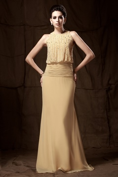 Gorgeous Trumpet/Mermaid Floor-length Round Neckline Beaded Mother of the Bride Dress