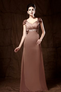 V-Neck Short Sleeves Floor-length Taline's Mother of the Bride Dress