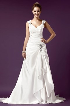 Spectacular Straps Floor-length Chapel Pleats A-line Wedding Dress