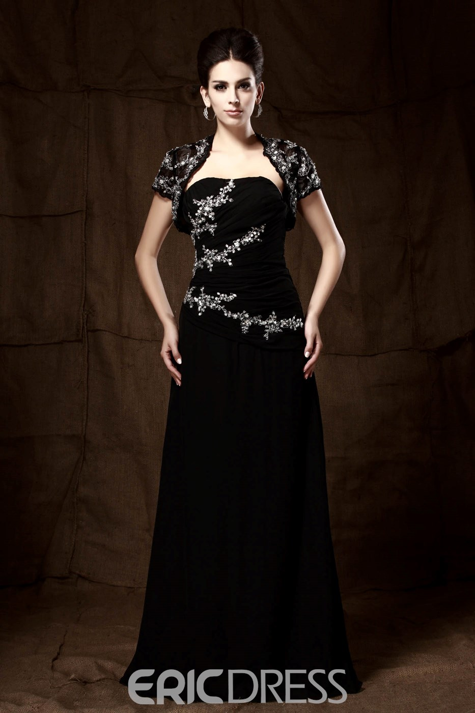 Graceful Sequins/Beaded A-Line Strapless Floor-Length Taline's Mother of the Bride Dress With Jacket/Shawl