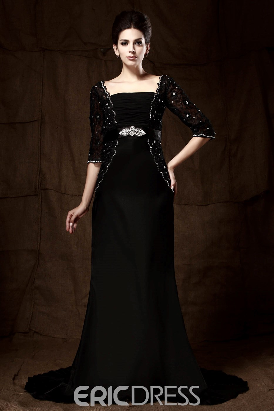 Delicated Crystal Long Sleeves Floor-Length Mother of the Bride Dress