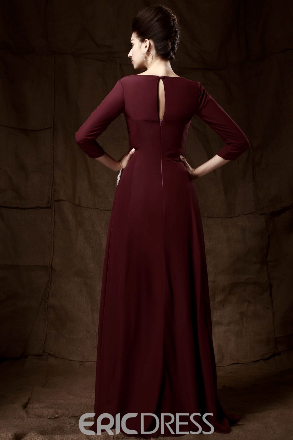 Elegant A Line Lone Sleeves Sweetheart Taline's Mother Dress