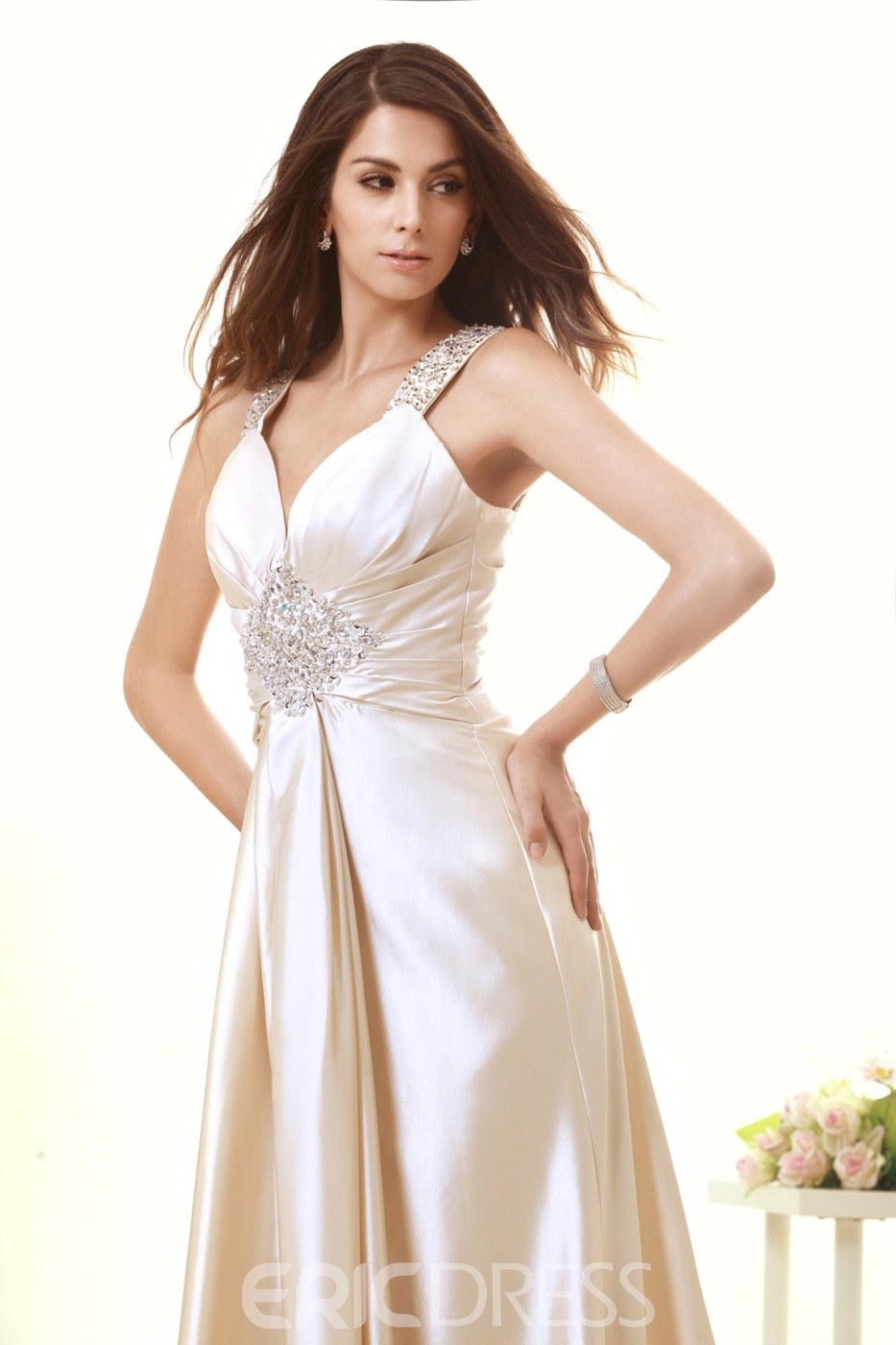 Attractive V-Neck Straps Sweep Beading Taline's Wedding Dress
