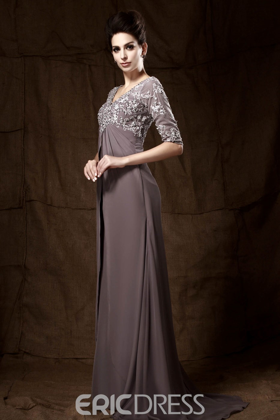Graceful Lace/Appliques Sheath/Column V-Neck 3/4-Sleeves Floor-Length Taline's Mother of the Bride Dress