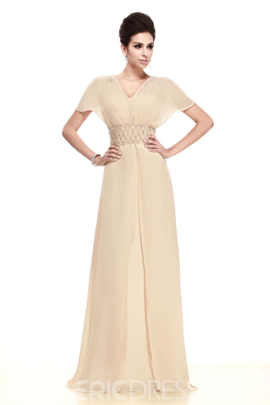 Elegant Sheath/Column Short Sleeves Floor Length Taline's Mother of the Bride Dress