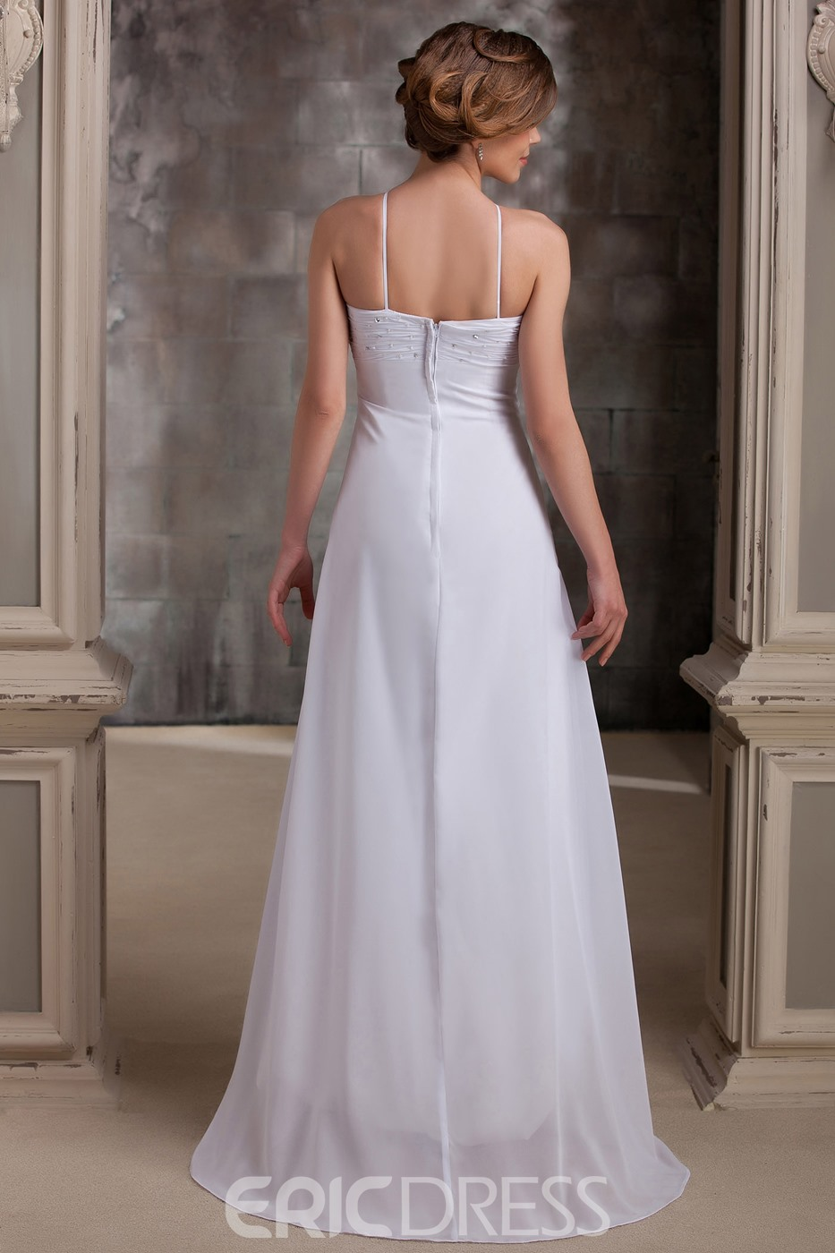 Weightless Empire Spaghetti Straps Asymmetry Beach Wedding Dress