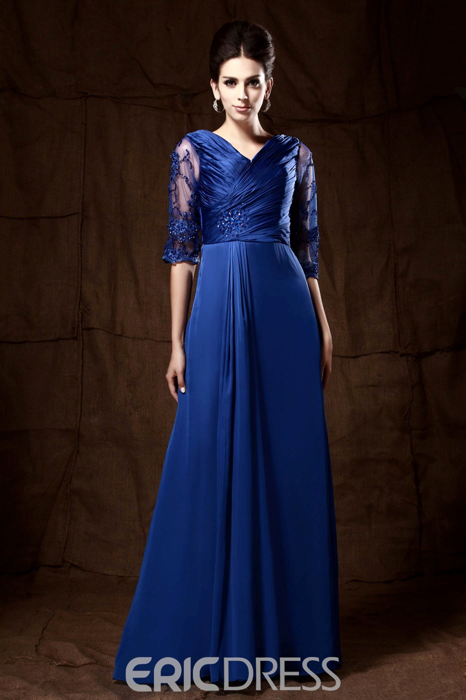 Fabulous Pleats Lace V-Neck 3/4-Sleeves Floor-Length Taline's Mother of the Bride Dress