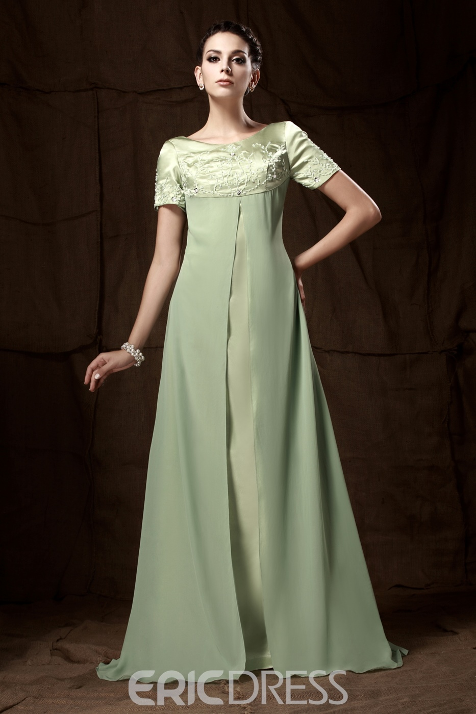 A-line Short-Sleeves Floor-Length Mother of the Bride Dress