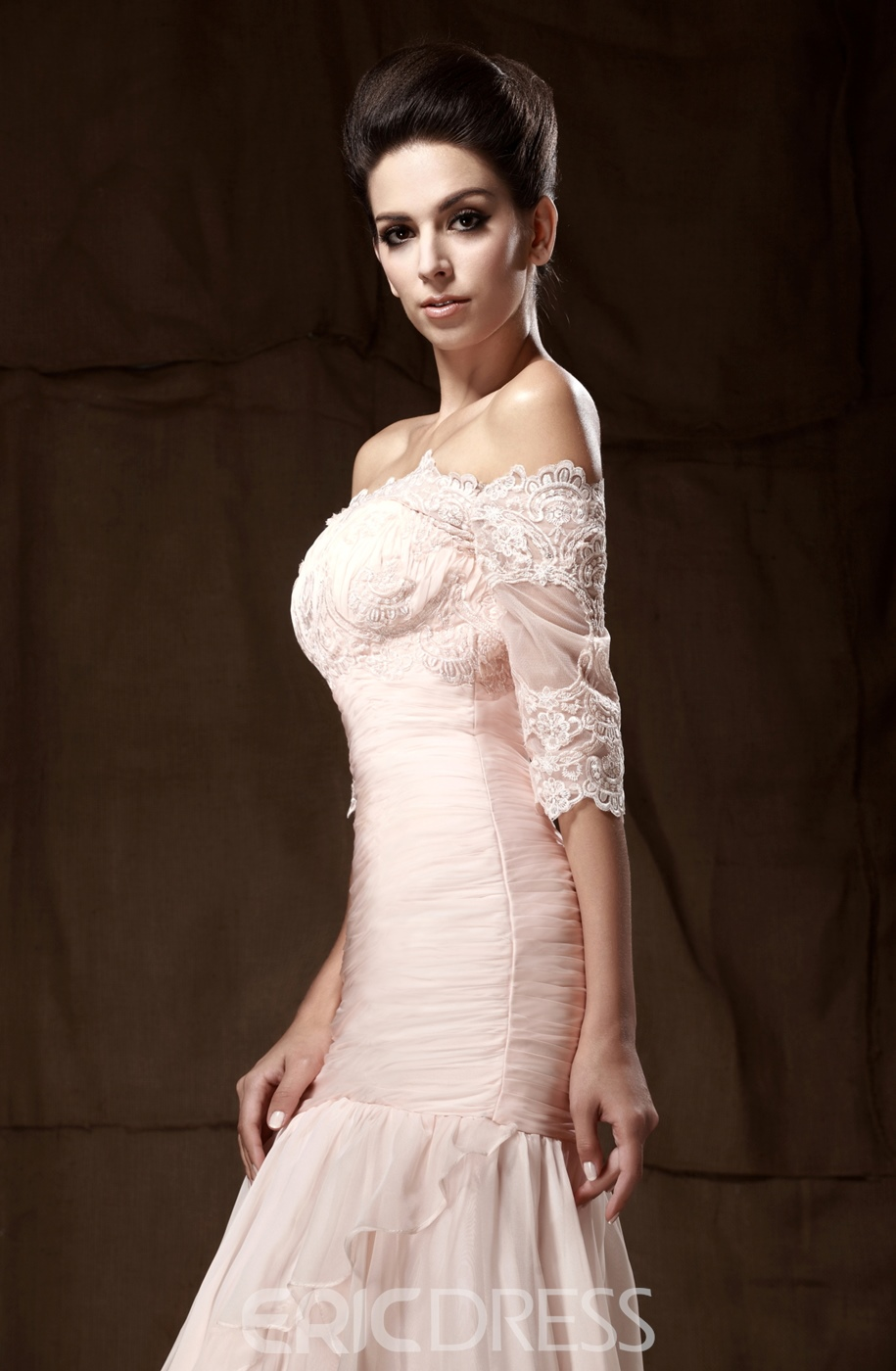 Romantic Lace Tiered Sheath/Column Off-the-Shoulder Floor-length Taline's Mother of the Bride Dress