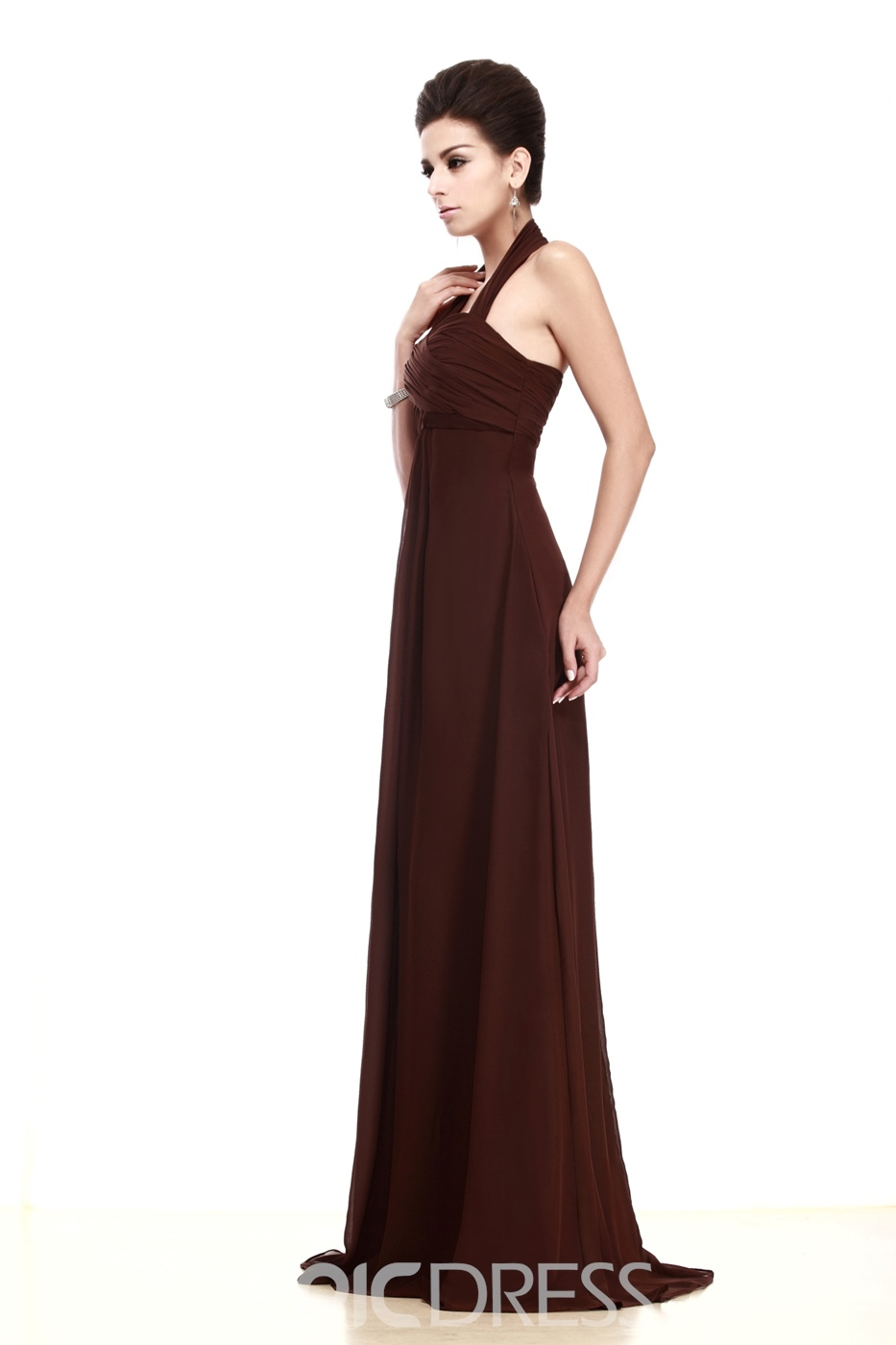 Column Brown Halter Taline's Prom/Bridesmaid Dress